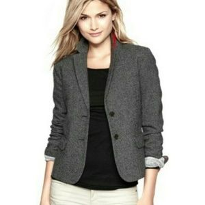 GAP / Academy Blazer / Grey Wool-Silk Herringbone
